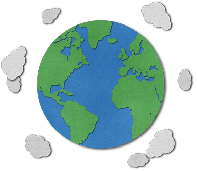 cutout of the earth surrounded by clouds